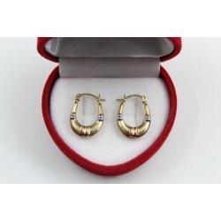 Златни дамски обеци жълто розово бяло злато 4366