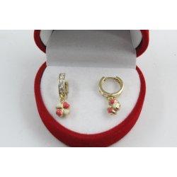 Златни детски обеци халки с висяща детелина жълто злато бели камъни 4367