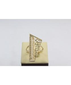 Златен дамски пръстен Пиано Голямо жълто злато бели камъни 4371