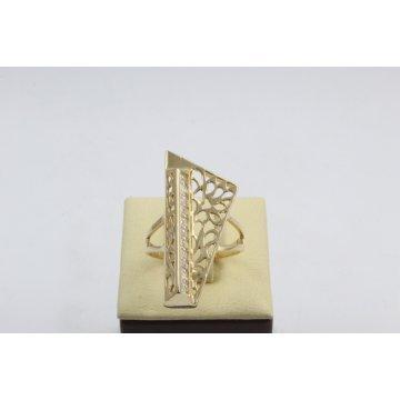 Златен дамски ретро пръстен пиано жълто злато бели камъни 4371