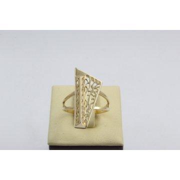 Златен дамски ретро пръстен Пиано Малко жълто злато бели камъни 4372