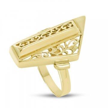 Златен дамски ретро пръстен Пиано Малко жълто злато 4372