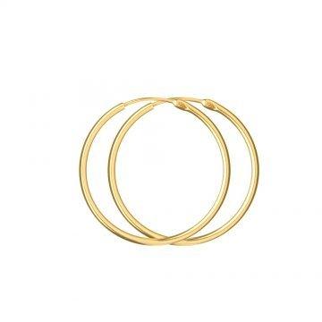 Златни дамски обеци гладки халки жълто злато 4381