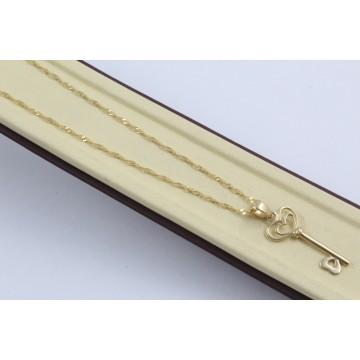 Дамско златно колие Ключ жълто злато 4383