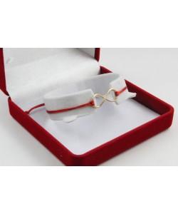Златна регулираща се гривна с червен конец и безкрайност 4385