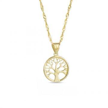 Дамско златно колие Дървото на Живота жълто бяло злато 4399