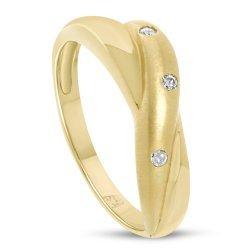 Златен дамски пръстен с бели камъни 4405