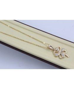 Дамско златно колие Четирилистна Детелина жълто злато бели камъни 4410