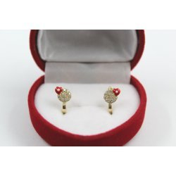 Златни детски обеци със сърчица и бели камъни 4412