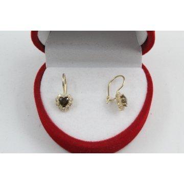 Златни детски обеци сърца с камъни 4413