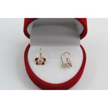 Златни детски обеци пеперуди жълто злато бели камъни 4416