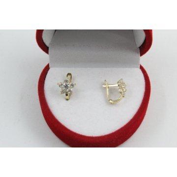 Златни детски обеци цветя жълто злато бели камъни 4417