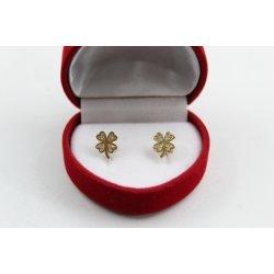 Златни детски обеци детелини жълто злато бели камъни 4418