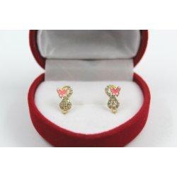 Златни детски обеци с пеперуди и бели камъни 4418