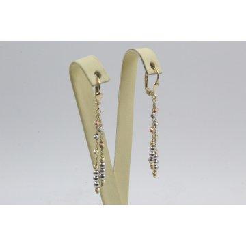 Дамски златни висящи обеци жълто бяло розово злато 4419