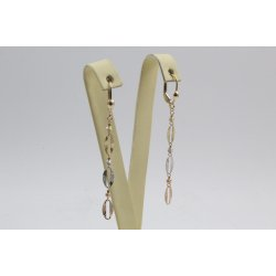 Дамски златни висящи обеци жълто бяло розово злато 4420