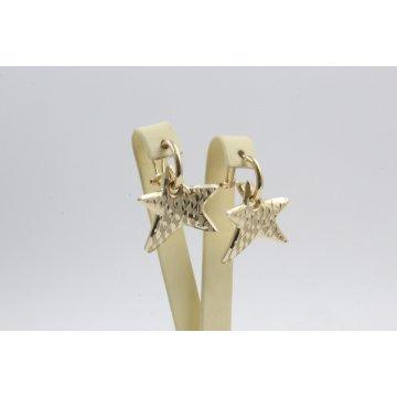 Дамски златни висящи обеци звезди жълто злато 4420