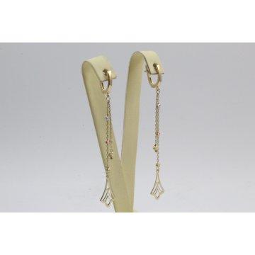 Дамски златни висящи обеци жълто бяло розово злато 4421