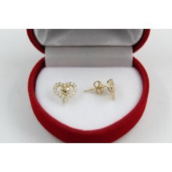 Дамски златни висящи обеци жълто злато бели камъни 4421