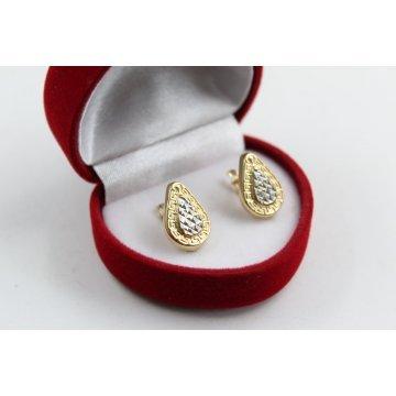 Дамски златни обеци жълто бяло злато 4422