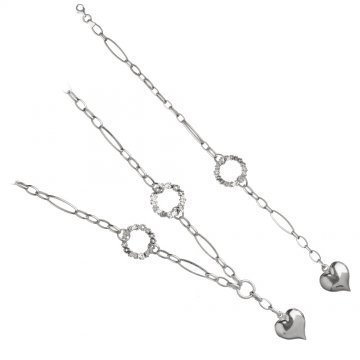 Дамски сребърен комплект Милена Сърце колие и гривна 4424