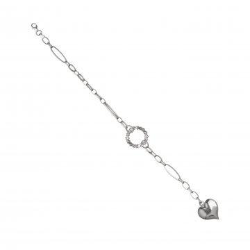 Дамска сребърна гривна с висящо сърце 2080