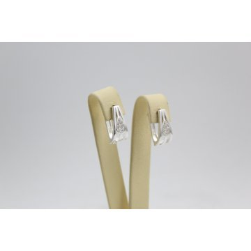 Дамски сребърни обеци Испанка 1 бели камъни 4428
