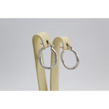 Дамски сребърни обеци родирани халки 4435