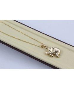 Дамско златно колие с медальон слонче жълто злато 4439