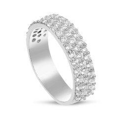 Дамски сребърен пръстен с бели камъни 4443