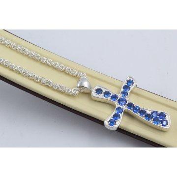 Дамско сребърно колие с кръст сини камъни 4451