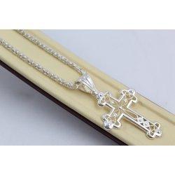 Дамско сребърно колие с кръст бели камъни 4453