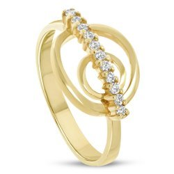 Златен дамски пръстен с бели камъни 4459