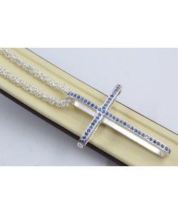 Дамско сребърно колие с кръст сини камъни 4460