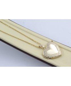 Златно дамско отварящо се колие сърце за снимка жълто злато 4470