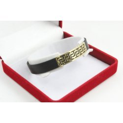Златна унисекс гривна с черен силикон жълто злато 4478
