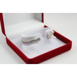 Дамска твърда сребърна гривна бели камъни 4482