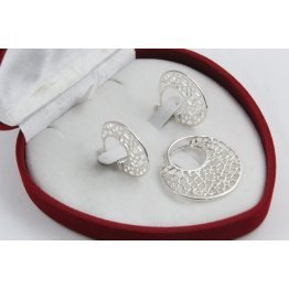 Дамски сребърен дизайнерски комплект обеци и медальон 4483