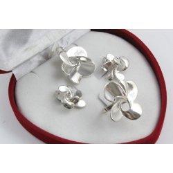 Дамски сребърен комплект Хризантема обеци медальон пръстен 4489