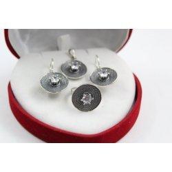 Дамски сребърен комплект обеци медальон пръстен тъмно сребро 4489