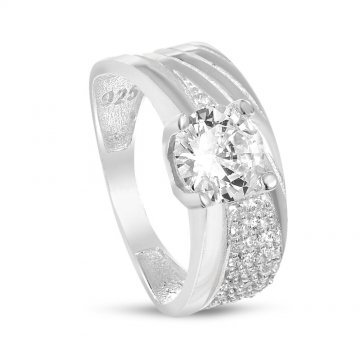 Дамски сребърен пръстен с бели камъни 4492