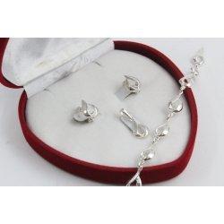 Дамски сребърен комплект обеци медальон гривна 4493