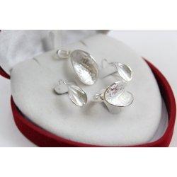 Дамски сребърен комплект обеци медальон пръстен 4493