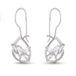 Дамски сребърни обеци с бели камъни 4495