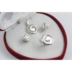 Дамски сребърен комплект обеци медальон пръстен 4497