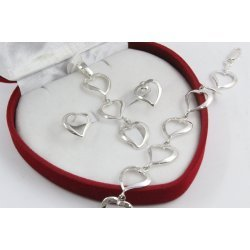 Дамски сребърен комплект обеци медальон гривна 4504