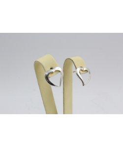 Дамски сребърни обеци сърца на винт 4506