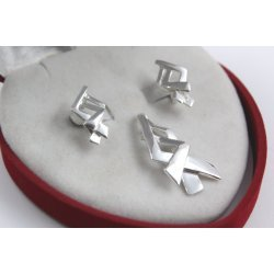 Дамски сребърен комплект обеци медальон 4504