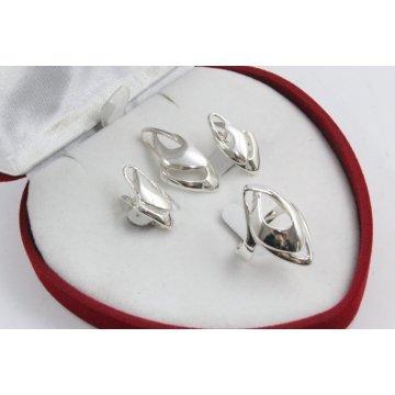 Дамски сребърен комплект обеци медальон пръстен 4508