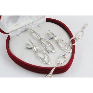 Дамски сребърен комплект с бели камъни обеци медальон гривна 4512